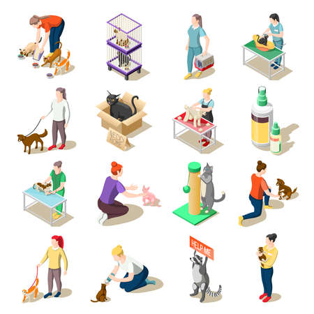 Set of isometric icons animal care volunteers, feeding, walking and grooming, veterinary inspection isolated vector illustration