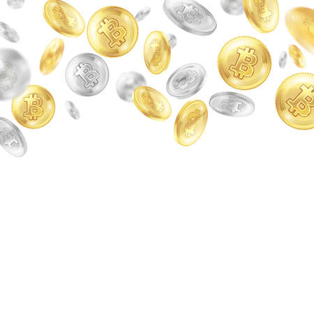Crypto currency, flying golden and silver coins, virtual money on white background, realistic vector illustration
