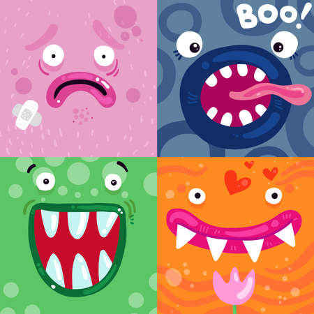 Funny monsters facial expressions concept 4 colorful icons pink green blue orange square poster isolated vector illustration
