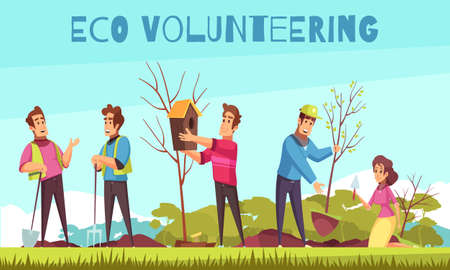 Eco volunteering cartoon composition with persons during hanging bird house, planting of saplings vector illustration