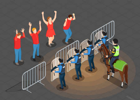 Police and people isometric background with protest prevention symbols vector illustration