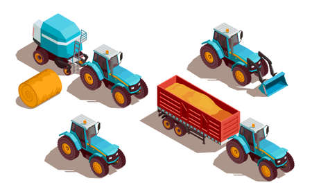 Agricultural machines isometric composition with tractor and grain isolated vector illustration