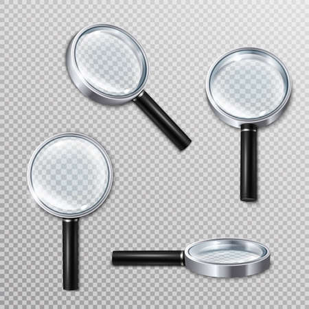 Set of realistic magnifying glasses with metal rim and black handle on transparent background isolated vector illustration