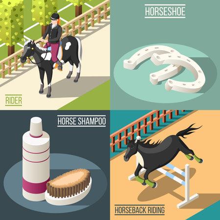 Equestrian sport 2x2 design concept set of horse shampoo horseshoe rider and horseback riding isometric square icons vector illustration