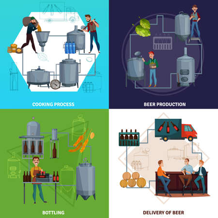 Workers during beer production including brewing process and bottling, product delivery cartoon design concept isolated vector illustration