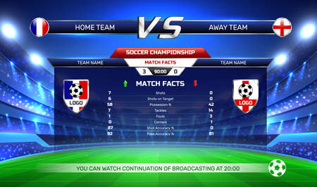 Broadcast of soccer championship, game result and statistics at screen on football stadium background vector illustration Vetores
