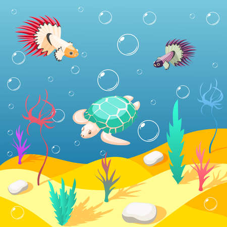 Inhabitants of underwater world isometric background with sand seabed exotic turtle and birds cartoon vector illustration Vector Illustratie