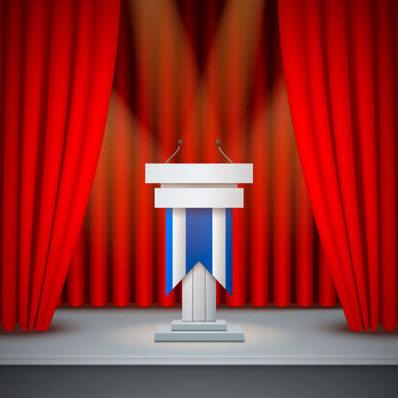 White tribune to speak realistic composition on an empty stage with red curtains vector illustration