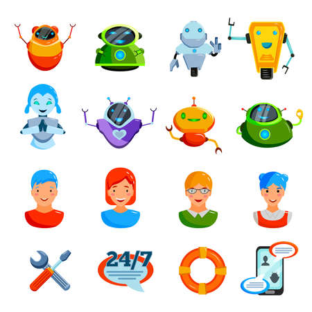Online chat symbols flat icons collection with users avatar messenger service tools bugs bots isolated vector illustration