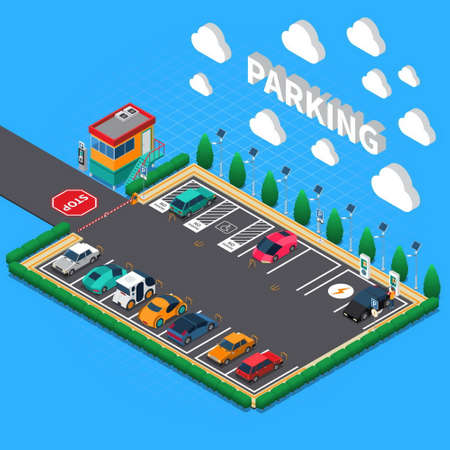 Perpendicular parking lot with plug in electric vehicles ecological charging stalls attendant booth isometric composition
