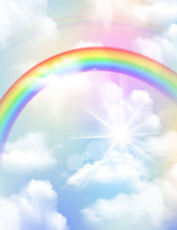 Bright colored rainbow clouds and sky realistic composition