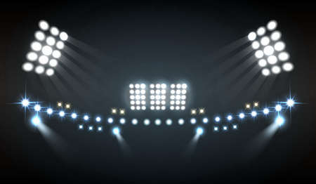 Stadium lights realistic composition with show and technology symbols
