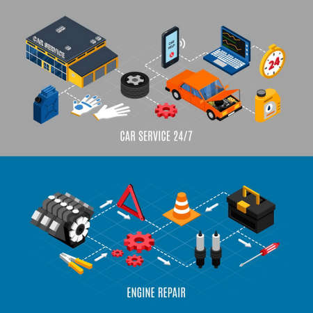 Car service and maintenance horizontal banners set with engine repair symbols isometric isolated vector illustration