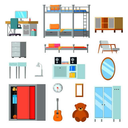 Teen room constructor flat icons with furniture desk with monitor and personal accessories isolated vector illustration