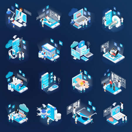 Health telemedicine glow isometric icons collection with mobile electronic devices remote tests virtual doctor isolated vector illustration