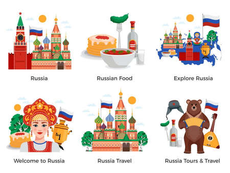 Russia travel tours attractions culture landmarks 6 flat compositions set with traditional food symbols landmarks vector illustration