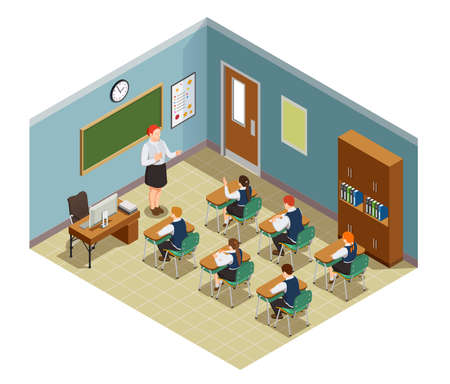 High school isometric people composition with class room interior and characters of female teacher and students vector illustration Vektoros illusztráció