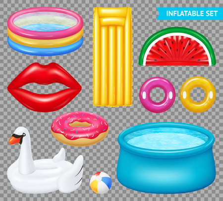 Set of realistic inflatable objects pools and swimming equipment isolated on transparent background vector illustration