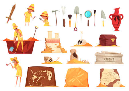 Archeology set of icons with explorers, science equipment, ancient artifacts including tombs, fossils, amphora isolated vector illustration