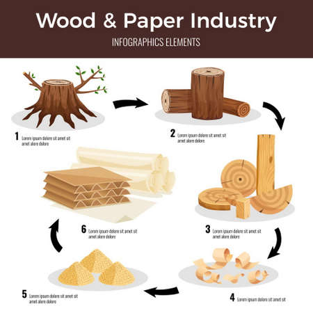 Wood paper manufacturing flat infographic schema from cut logs lumber chips pulp converted to paperboard vector illustration Vetores