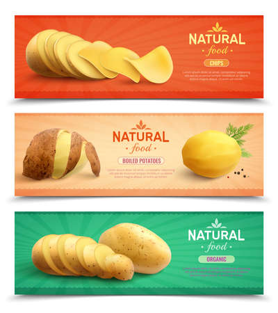 Natural food horizontal banners set of chips boiled product and raw roots realistic vector illustration
