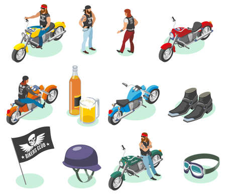 Bikers isometric icons collection of isolated human characters and images of motorcycles beer and fashion items vector illustration