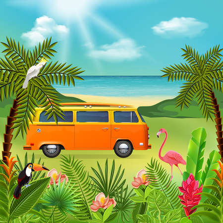 Tropical paradise composition with marine nature landscape and colourful plants with hippie mini van and flowers vector illustration Ilustracje wektorowe