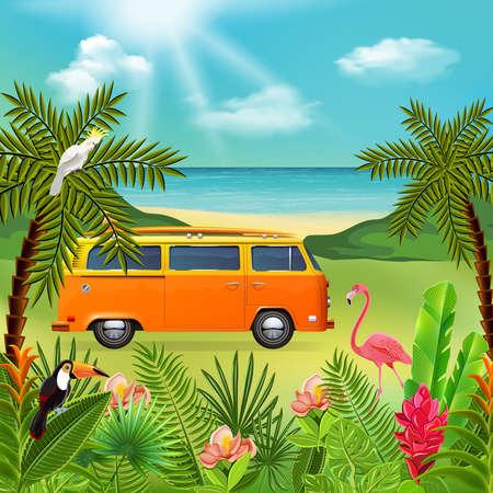 Tropical paradise composition with marine nature landscape and colourful plants with hippie mini van and flowers vector illustration Ilustração Vetorial