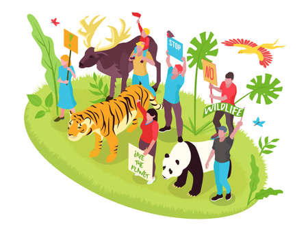 Wildlife protection isometric concept with people nature and animals vector illustration