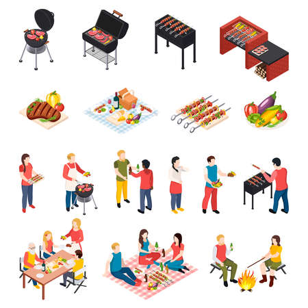 Iisometic bbq grill picnic icon set with peoples dining table picnic and grill equipment vector illustration 向量圖像