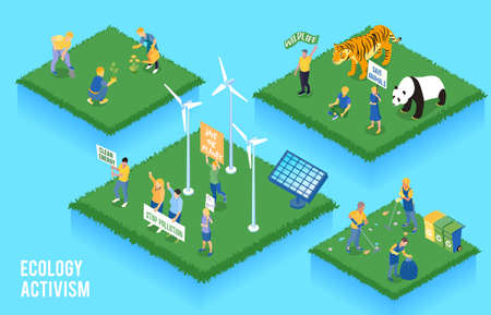 Ecology activism isometric concept with people and nature symbols isolated vector illustration