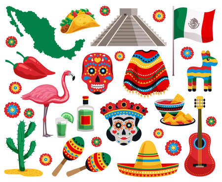Mexican national symbols culture food musical instruments souvenirs colorful objects collection with tequila tacos mask sombrero vector illustration
