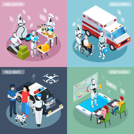 Four robot isometric professions icon set home assistant medical and police robots and teacher descriptions vector illustration Ilustración de vector
