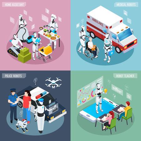 Four robot isometric professions icon set home assistant medical and police robots and teacher descriptions vector illustration Vektoros illusztráció