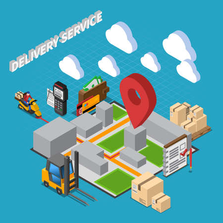 Delivery service isometric composition with elements of warehouse interior and logistic icons vector illustration Vetores