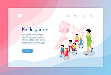 Kindergarten isometric web page with group of preschoolers educator and objects of play ground vector illustration