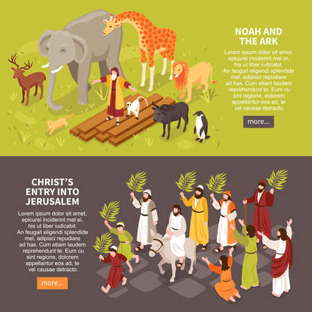 Set of two isometric bible narratives horizontal banners with text description characters of people and animals vector illustration Vetores
