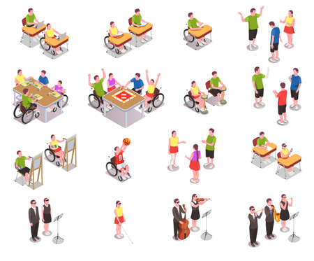 Inclusive education isometric icons set with disabled people in different situations at school isolated on white background 3d vector illustration