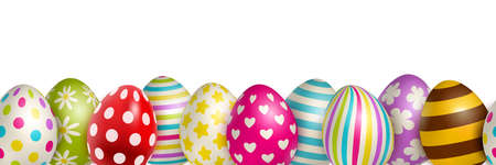 Traditional colored easter eggs with different ornaments on white background realistic vector illustration