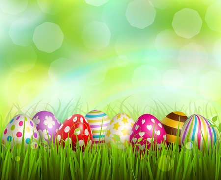 Colorful painted easter eggs on green grass on blurred background with bokeh realistic vector illustration Vettoriali