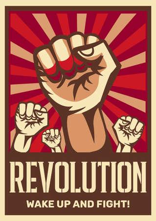 Raised fist vintage constructivist revolution communism promoting poster symbolizing unity solidarity with oppressed people fight vector illustration