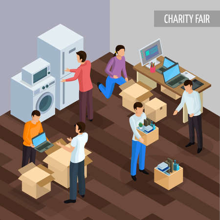 Sharing economy isometric background with human characters of people giving each other unnesessary goods and technics vector illustration