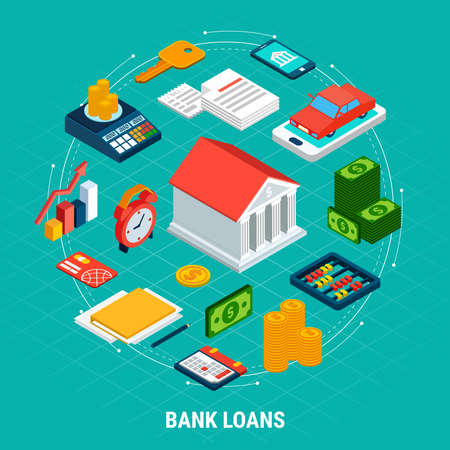 Loans isometric composition with isolated images of accounting equipment money electronics and infographic pictograms with text vector illustration