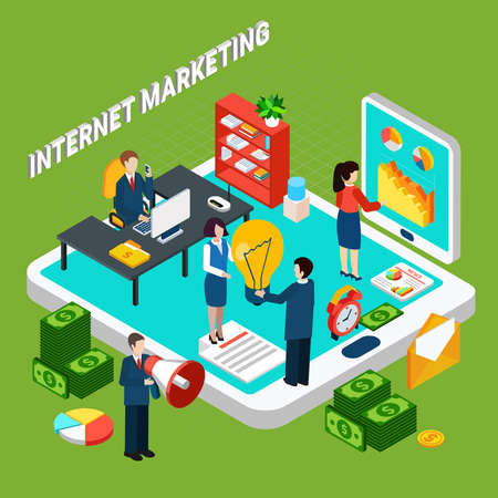 Internet digital marketing isometric concept with people working at office money and electronic devices 3d vector illustration Vector Illustratie