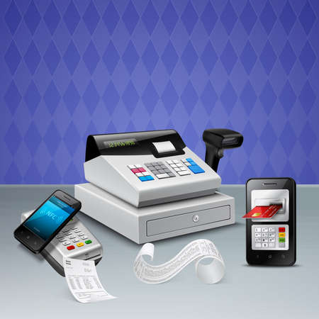 Electronic payment by nfc technology on smart phone realistic composition with cash register violet background vector illustration