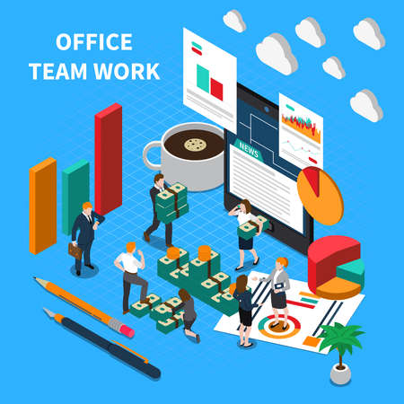 Office teamwork isometric concept with communication and progress symbols vector illustration