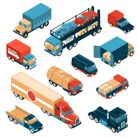 Isometric delivery trucks set of isolated images with motor lorry cars and vehicles for different freights vector illustration