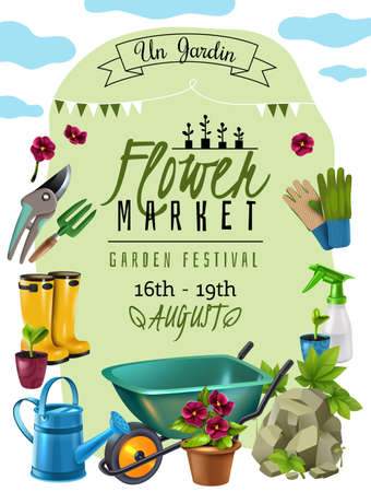 Cottage plants festival flower market announcement poster with event dates and gardener tools accessories advertisement vector illustration Vetores