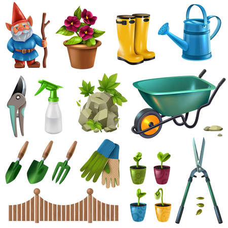 Country cottage garden accessories design elements set with hedge trimming shears flowers plants seedlings wheelbarrow vector illustration