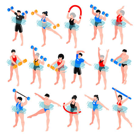 Human characters with sport equipment during aqua aerobics class set of isometric icons isolated vector illustration